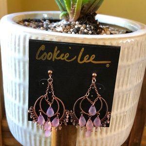 Cookie Lee Rose Briolette Post Hoop Earrings